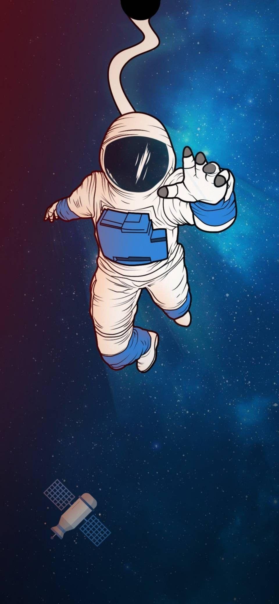 Galaxy wallpaper, astronauta panosunda Cristopher Chicaiza