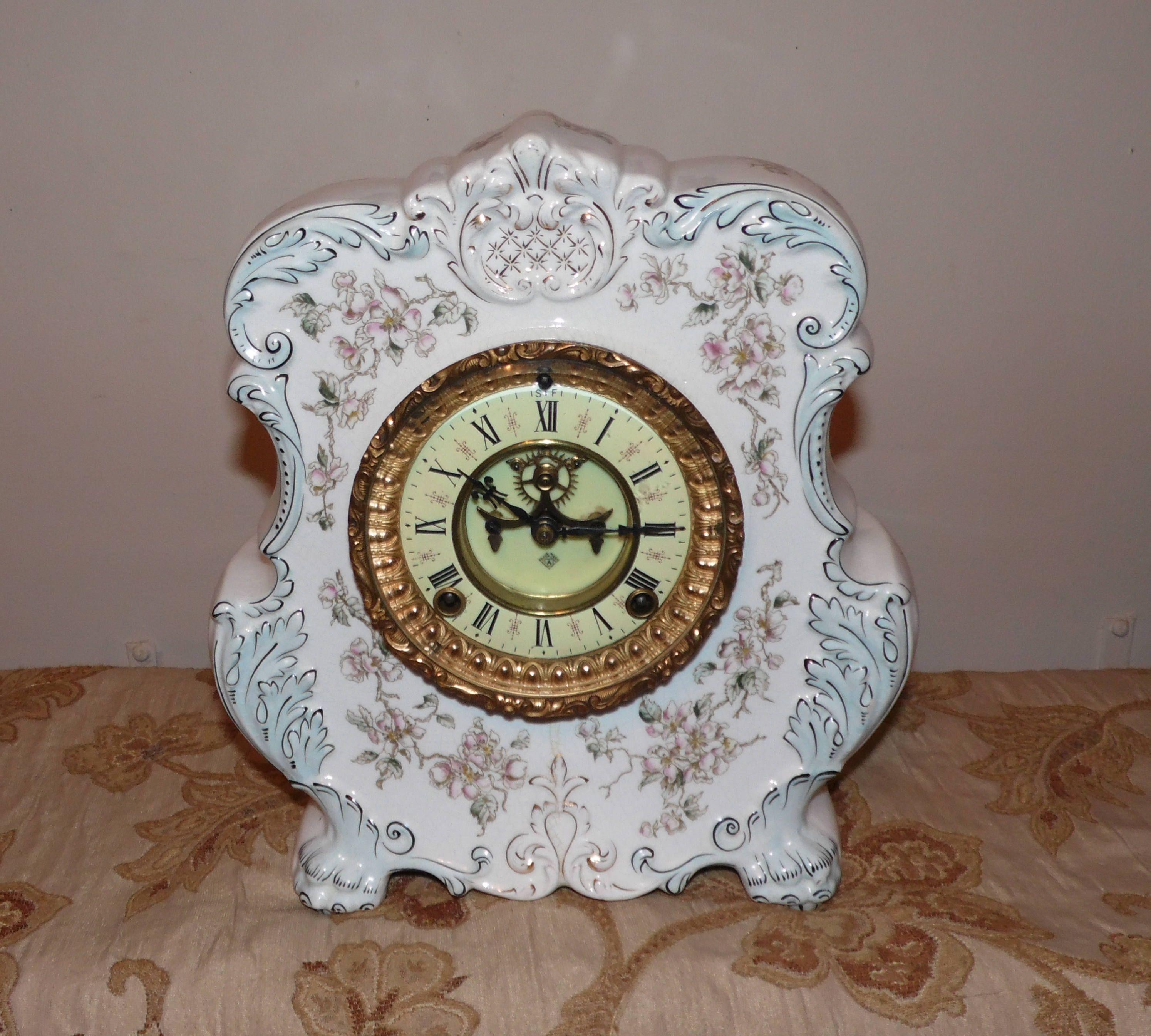 Antique Ansonia Porcelain Mantel Clock SCARCE Model 1880s Patents