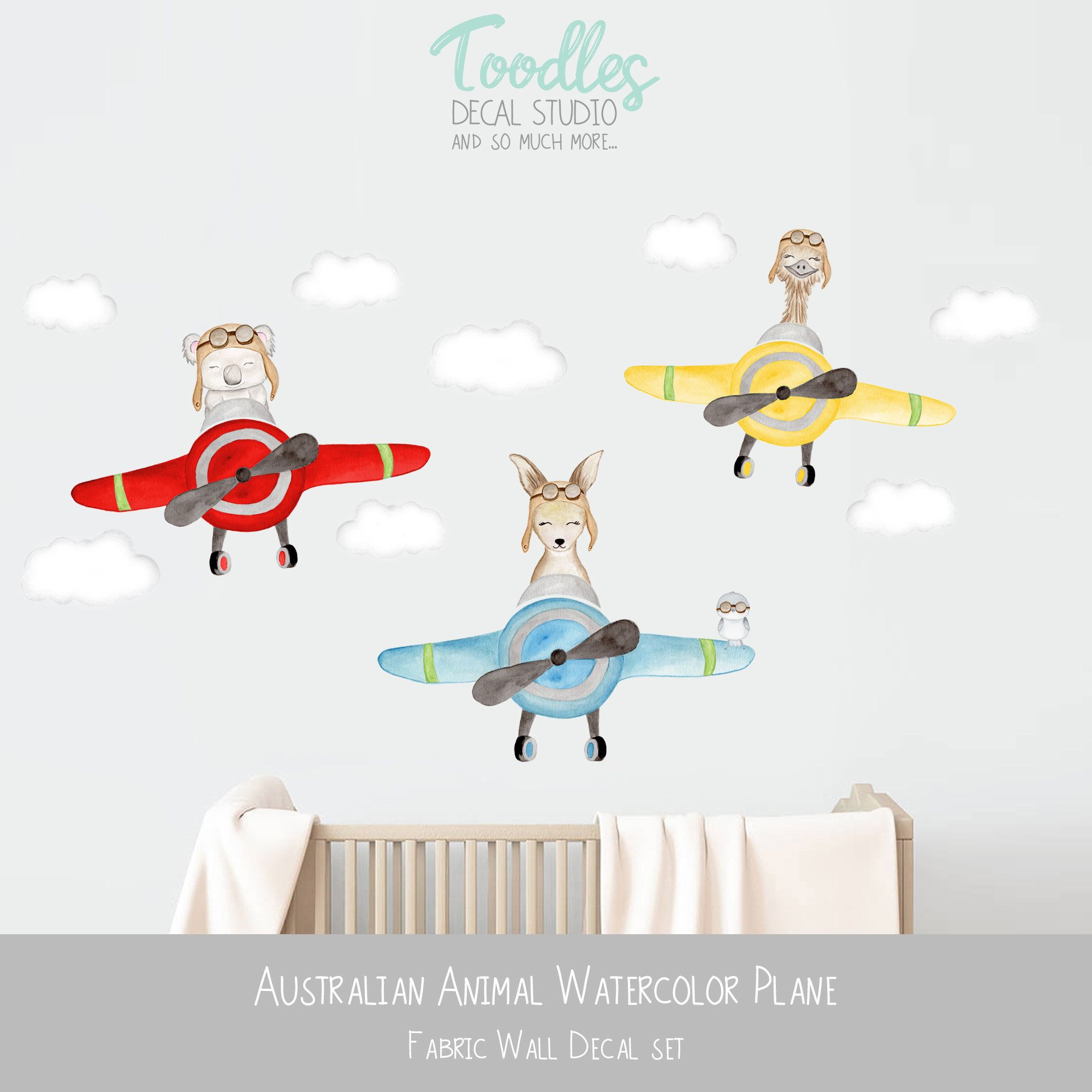 Australian Animal Decal Nursery Art Watercolor Plane Fabric