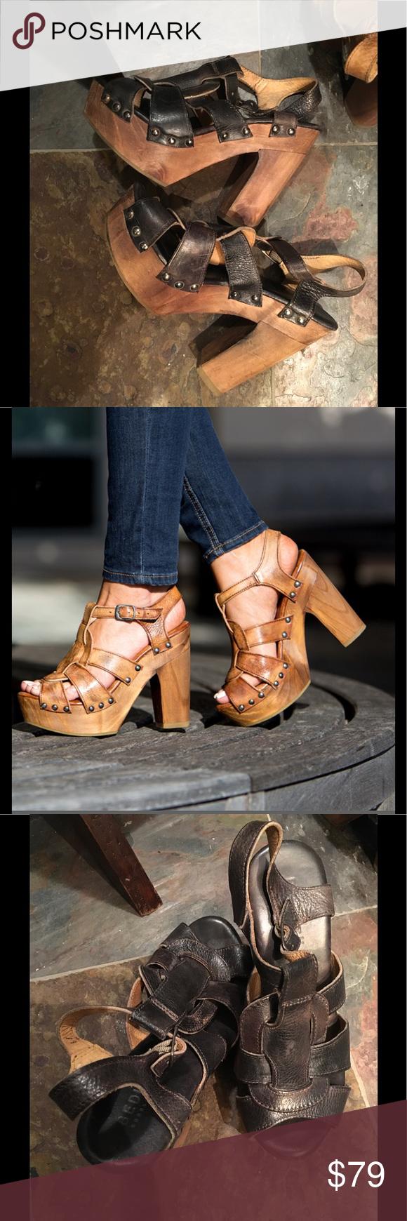 c59c4c1ce4f8 Bed Stu Melissa Platform Sandal Cobbler Series. Black Leather Lux Driftwood.  Size 8. Handcrafted in Mexico Bed Stu Shoes