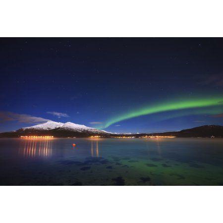 Aurora over Tjeldsundet and Saetertinden Mountain in Norway Canvas Art - Arild HeitmannStocktrek Images (35 x 23)