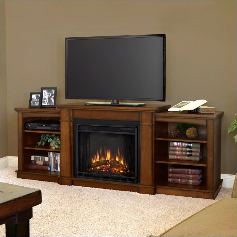Beautiful Real Flame Hawthorne Electric Fireplace TV Stand In Burnished Oak