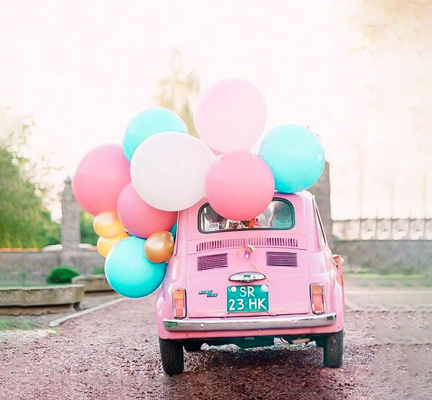 Pink Pastel Vintage Volkswagen Beetle With Gold Pink And
