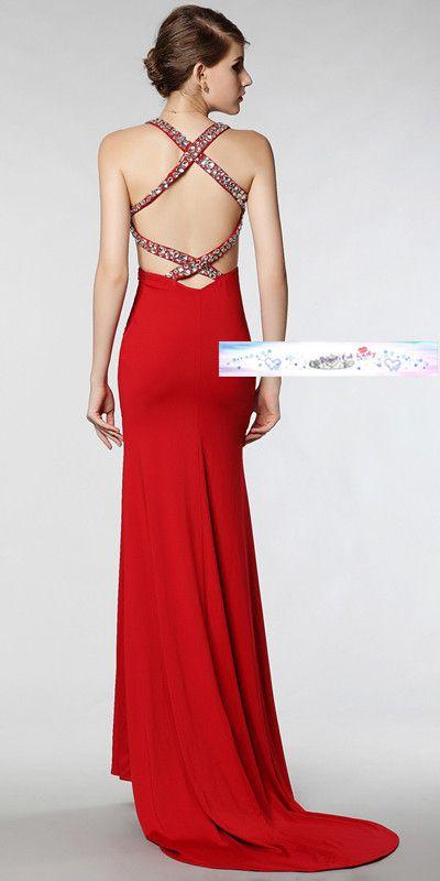 Red Low Back Wedding Dress