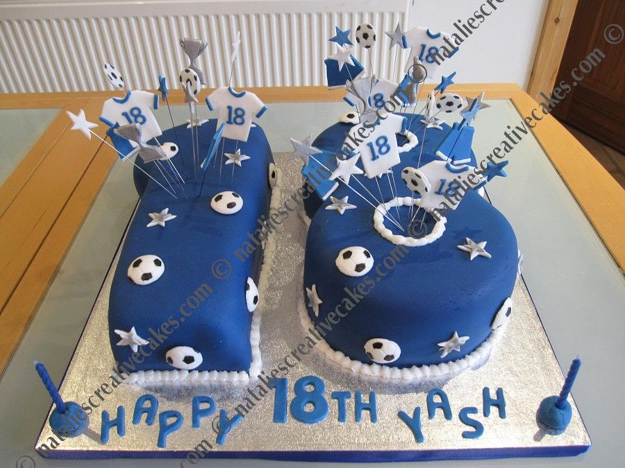 18th Birthday With Football Themed Starburst Decorated Cakes In