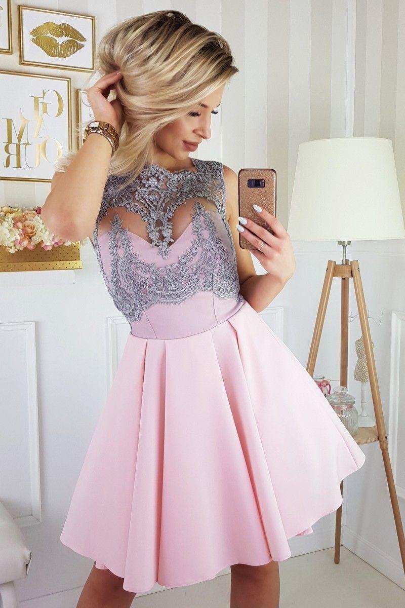 90f70e2fa2 Sukienka rozkloszowana koronkowa gorsetowa różowo-srebrna