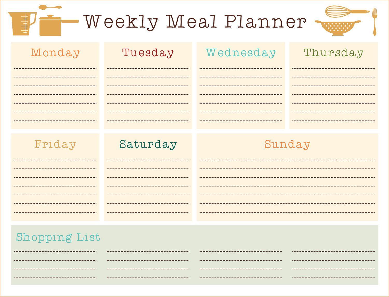 weekly meal planner template | Printable Custom DIY Weekly Meal ...
