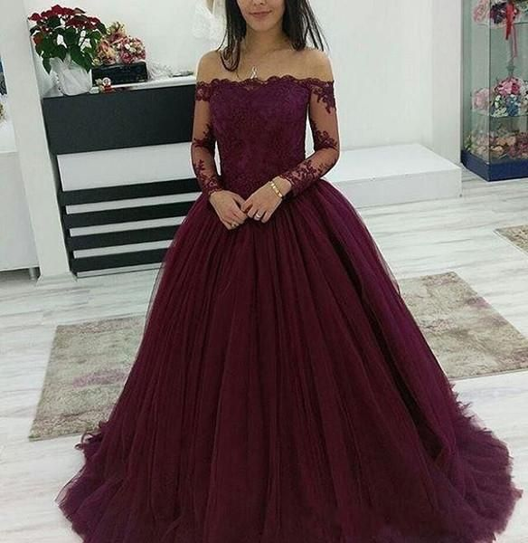 Prom Dresses Split, Grape Lace Long Sleeves Off Shoulder Tulle Ball Gown Prom Dresses 2020 #spitzeapplique