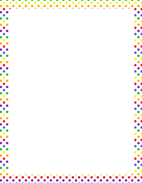 Free Rainbow Polka Dot Border Templates Including Printable Border Paper  And Clip Art Versions. File Formats Include GIF, JPG, PDF, And PNG.  Free Paper Templates With Borders