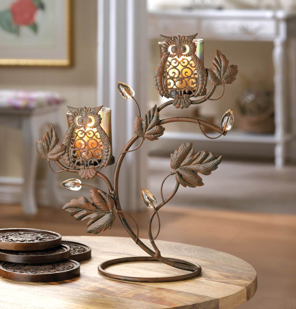 Wise owls on branch metal votive candle holder candle stand