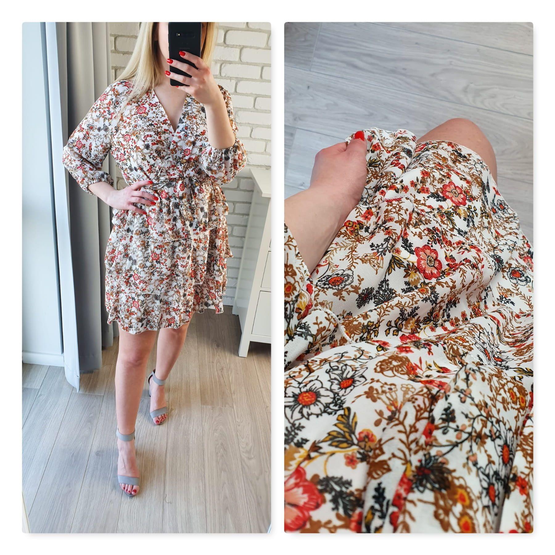 Sukienka Kwiaty Z Dekoltem V Dresses Fashion Shoulder Dress