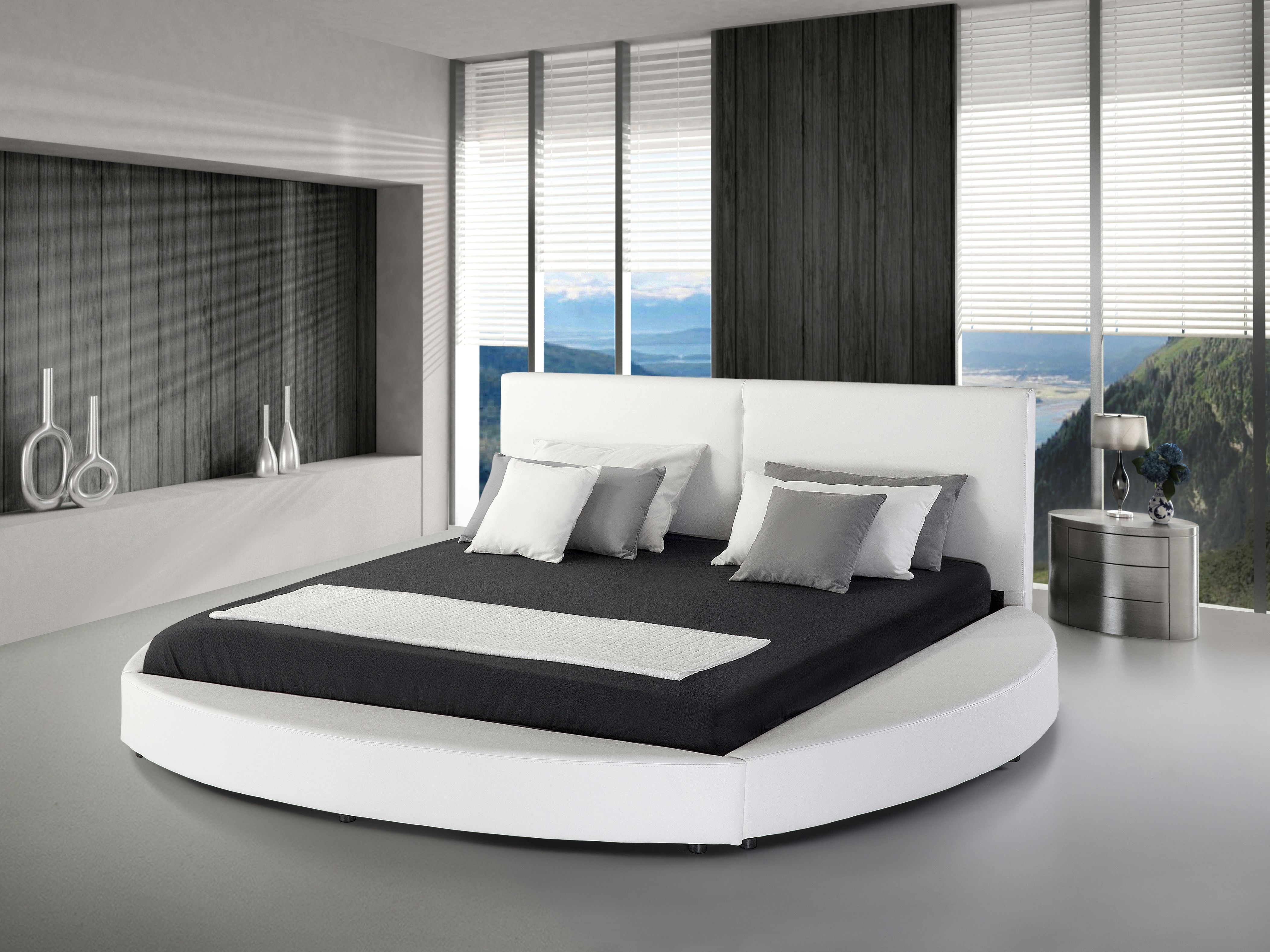 2 Persoons Spijlenbed.Bed Wit Leren Bed 180x200 Cm 2 Persoons Laval For The Home