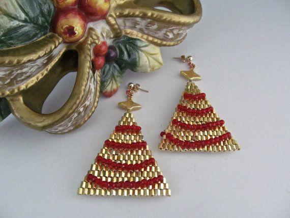 Xmas Tree Earrings with Ruby Garland Trimming by MarikasSugarFree