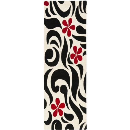 Safavieh Soho Kate Wool Runner Rug, Ivory/Black, 2'6 inch x 8', White