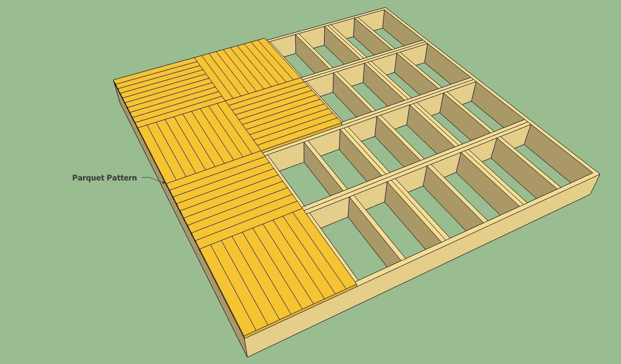 Decking patterns howtospecialist how to build step by for Simple floating deck plans