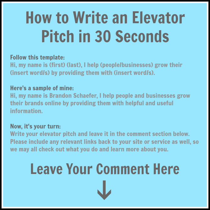 write your elevator pitch and share it with everyone in 30