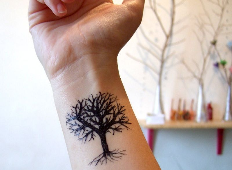 Amazing Black Tree Tattoo Design On Wrist Tattoos For Guys Tattoo Designs Wrist Tattoos For Women