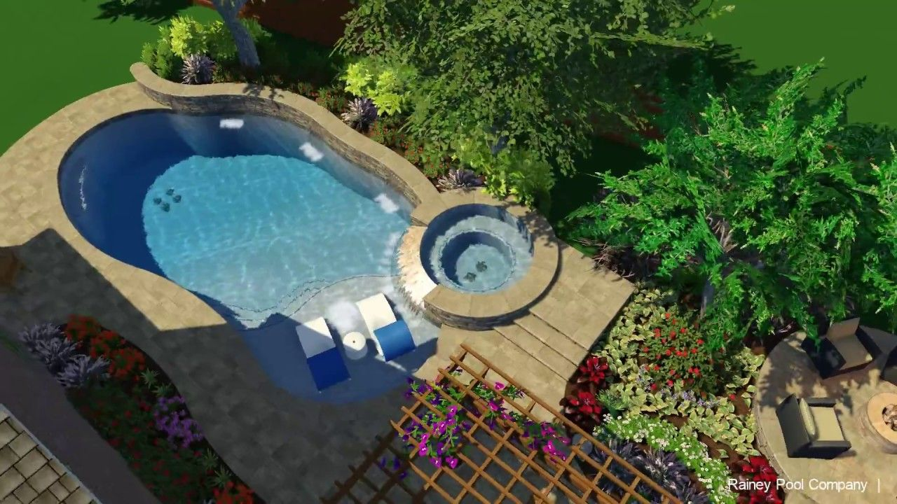 3d Pool Design Free Form With Outdoor Kitchen Fire Pit Pool Designs Pool 3d Pool