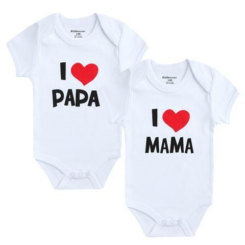 ee8683b5c 2PCS LOT Newborn Baby Clothes Short Sleeve Girl Boy Clothing I Love ...