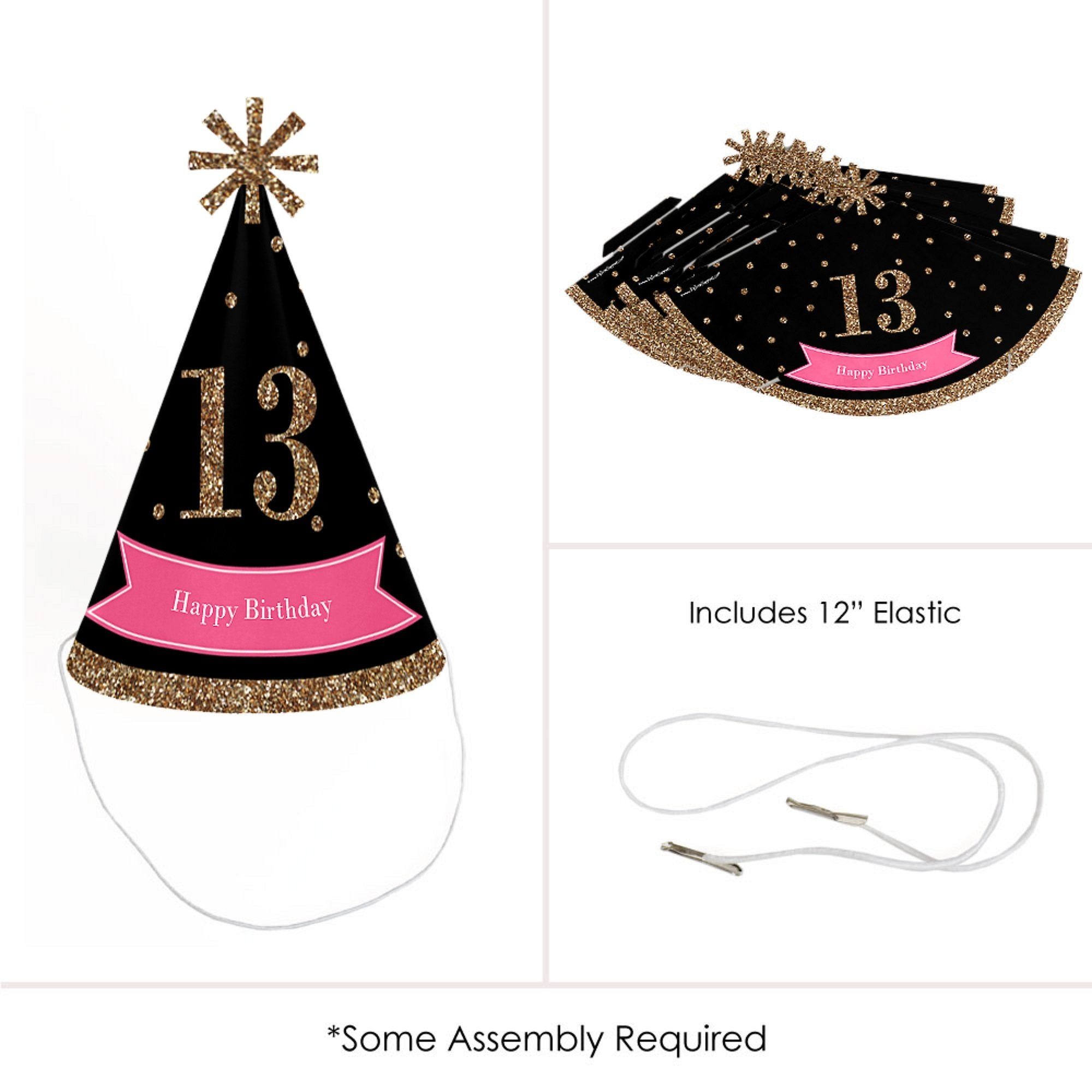 Chic 13th Birthday Pink Black And Gold Cone Happy Party Hats For Kids Adults
