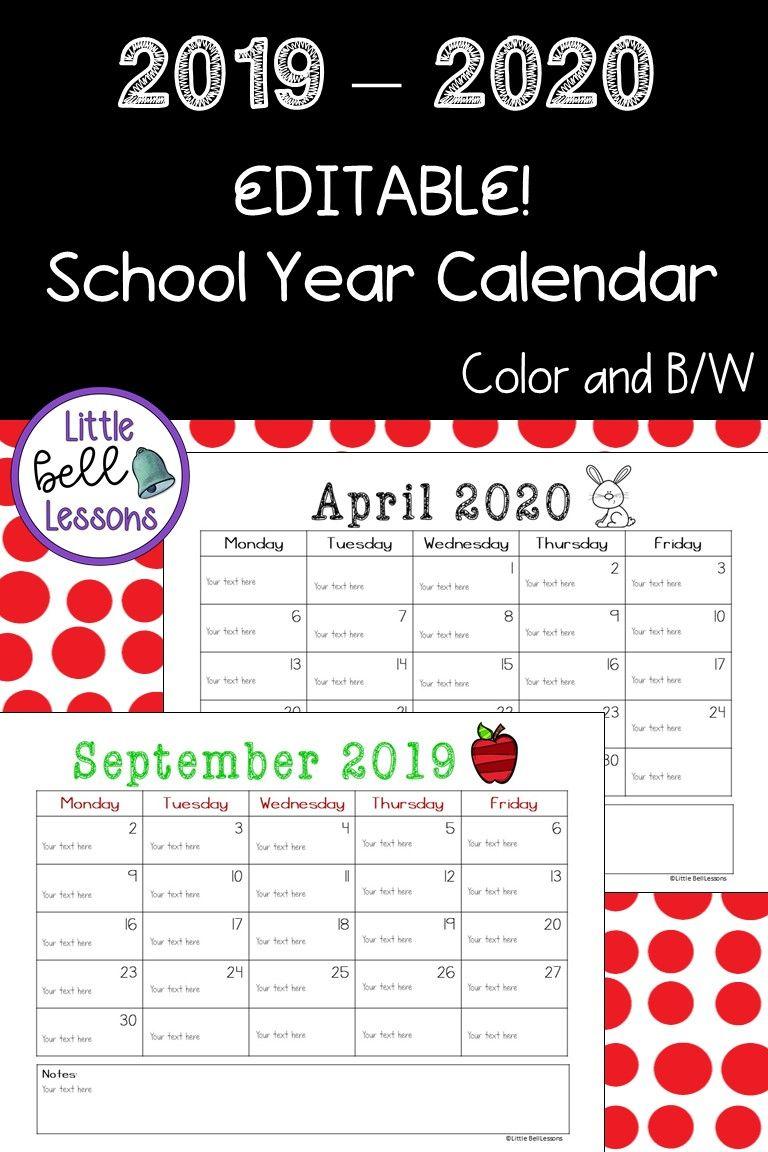 2019 2020 School Year Printable Calendars Editable Behavior