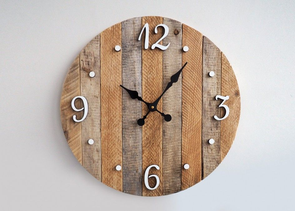 Decoration Awesome Rustic Kitchen Wall Clock Unique Creative Design Wooden Material White Metal Numeral Black