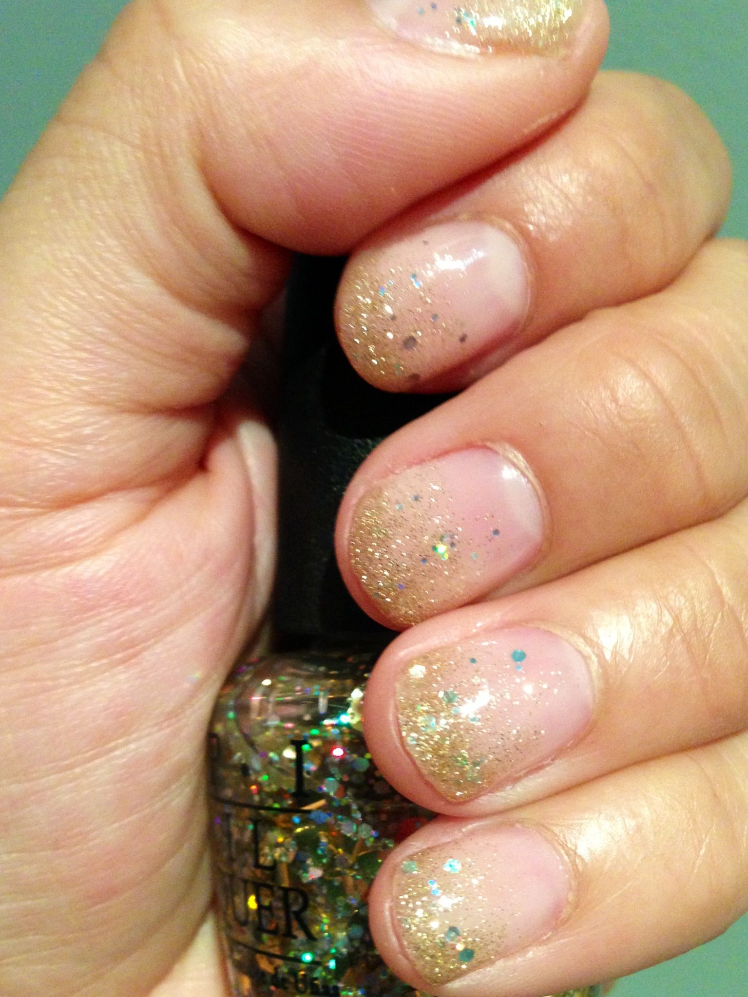 Pink Babyface Orly gel nail polish base with Gold Glitter tips from ...