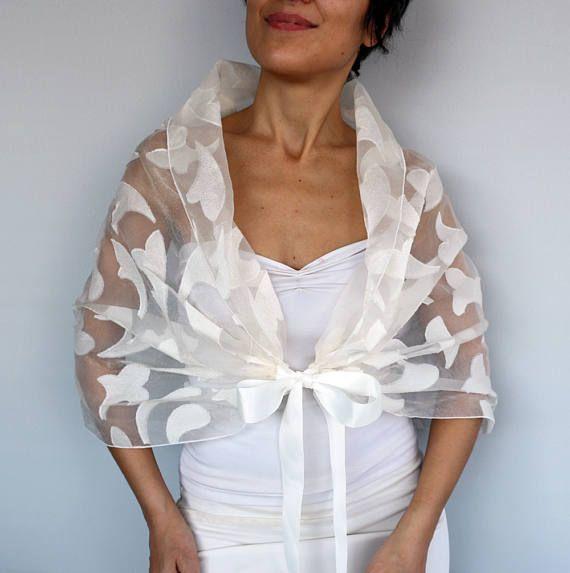 bdd4c4fd054 Chal de novia crema Organza 3D hombro abrigo estola crudo Como Poner Una  Bufanda, Crear