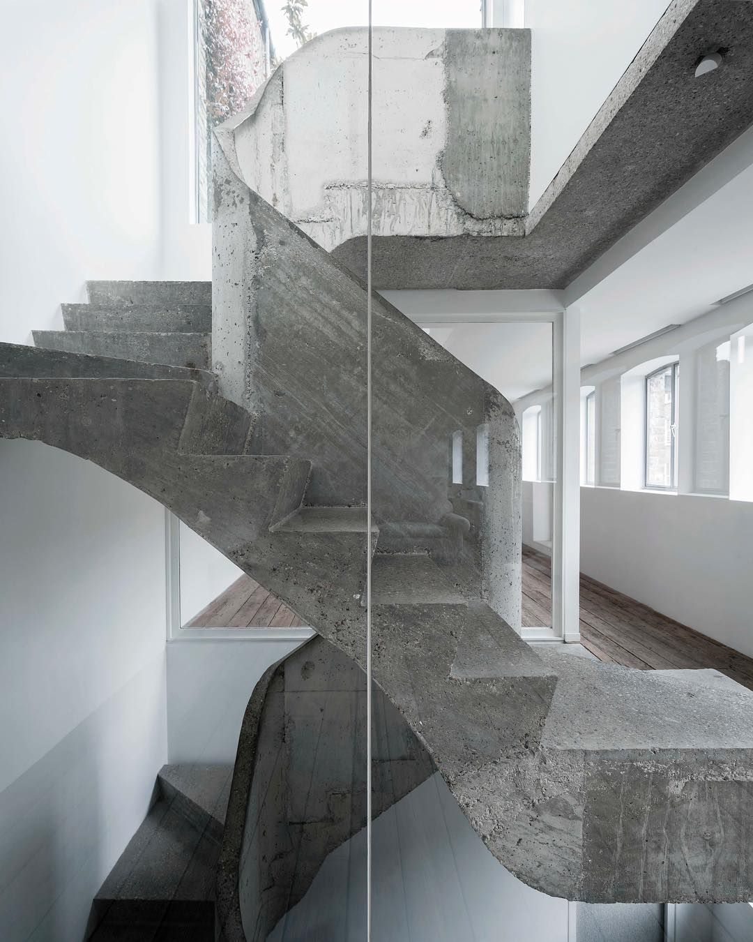 """Modern Interior Staircase Materials Photo: SOPHIE HICKS ARCHITECTS On Instagram: """"Rough Cast Concrete"""