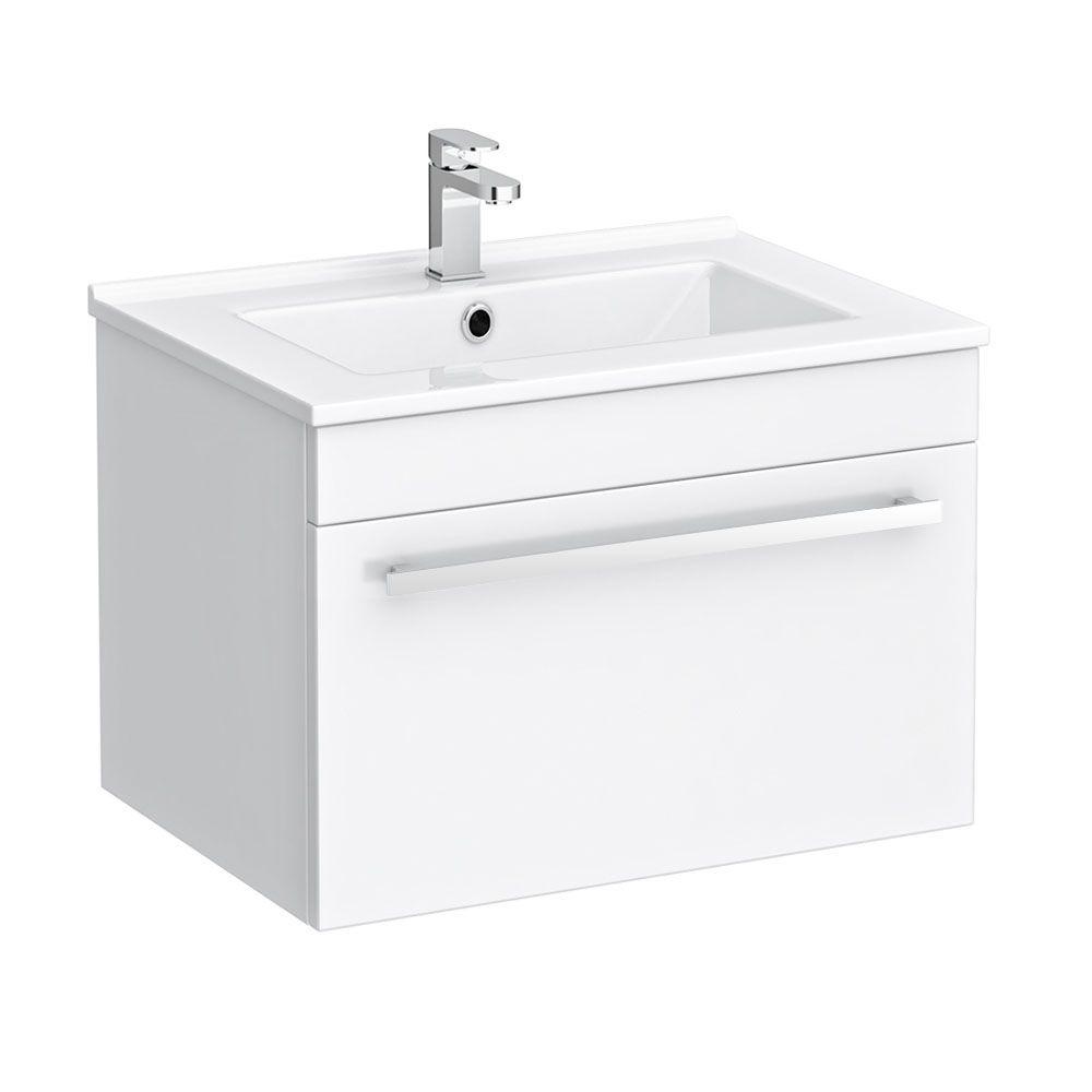 Nova 500mm Wall Hung Vanity Sink With Cabinet Modern High Gloss