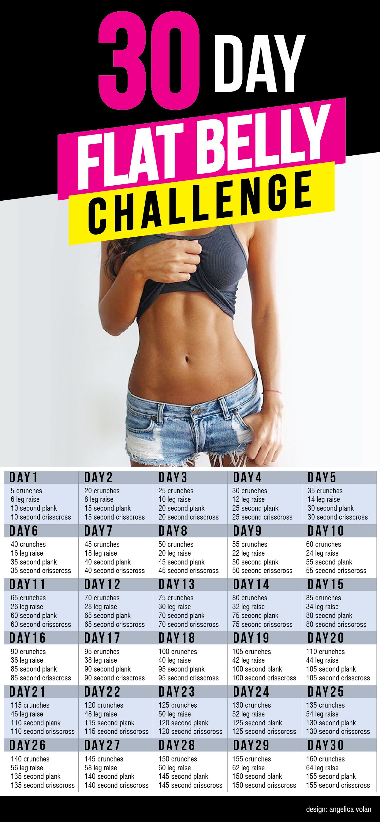 4 Exercise, 30 Day Flat Belly Challenge