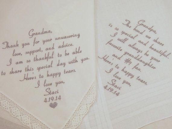 Grandmother Wedding Gift: Grandma Grandpa Embroidered Wedding Handkerchiefs