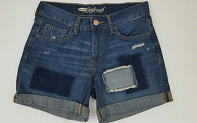 Old navy womens boyfriend tomboy patch  destroyed denim blue jeans shorts NWT