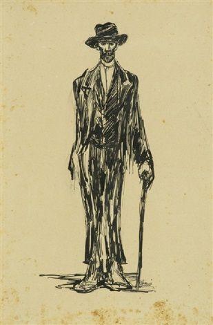 """Lorenzo Viani (Viareggio 1882– Ostia 1936), """"Il damerino"""" , 1907. Medium: India ink on paper Size: 50 x 32 cm. (19.7 x 12.6 in.) View past auction results for LorenzoViani on artnet"""