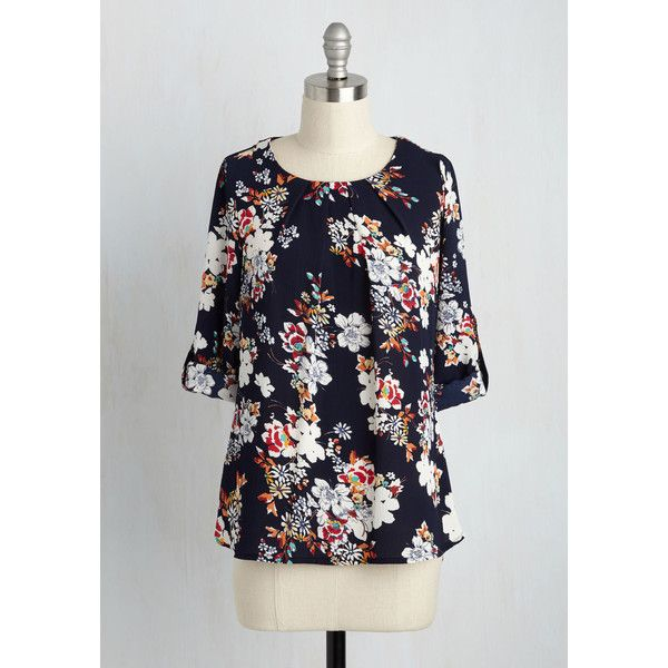 Fairytale Mid-length 3 Stylishly Certain Top (59 CAD) ❤ liked on Polyvore featuring tops, blouses, navy blouse, navy tops, sleeve blouse, floral print blouse and floral print tops