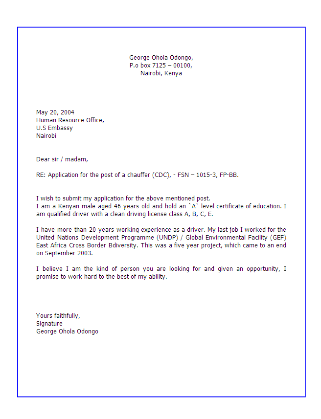 Cover Letter Example Kenya
