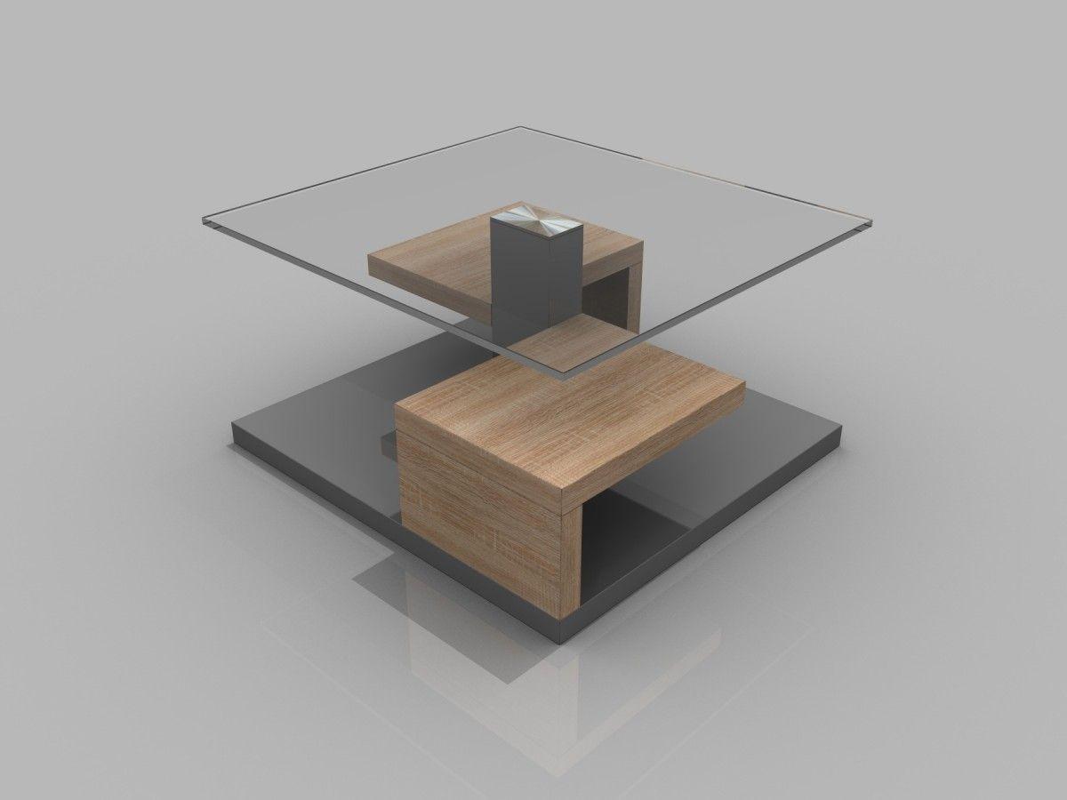 Couchtisch Corona Wohnzimmertisch Tisch Glastisch Sonoma Eiche Grau Hochglanz