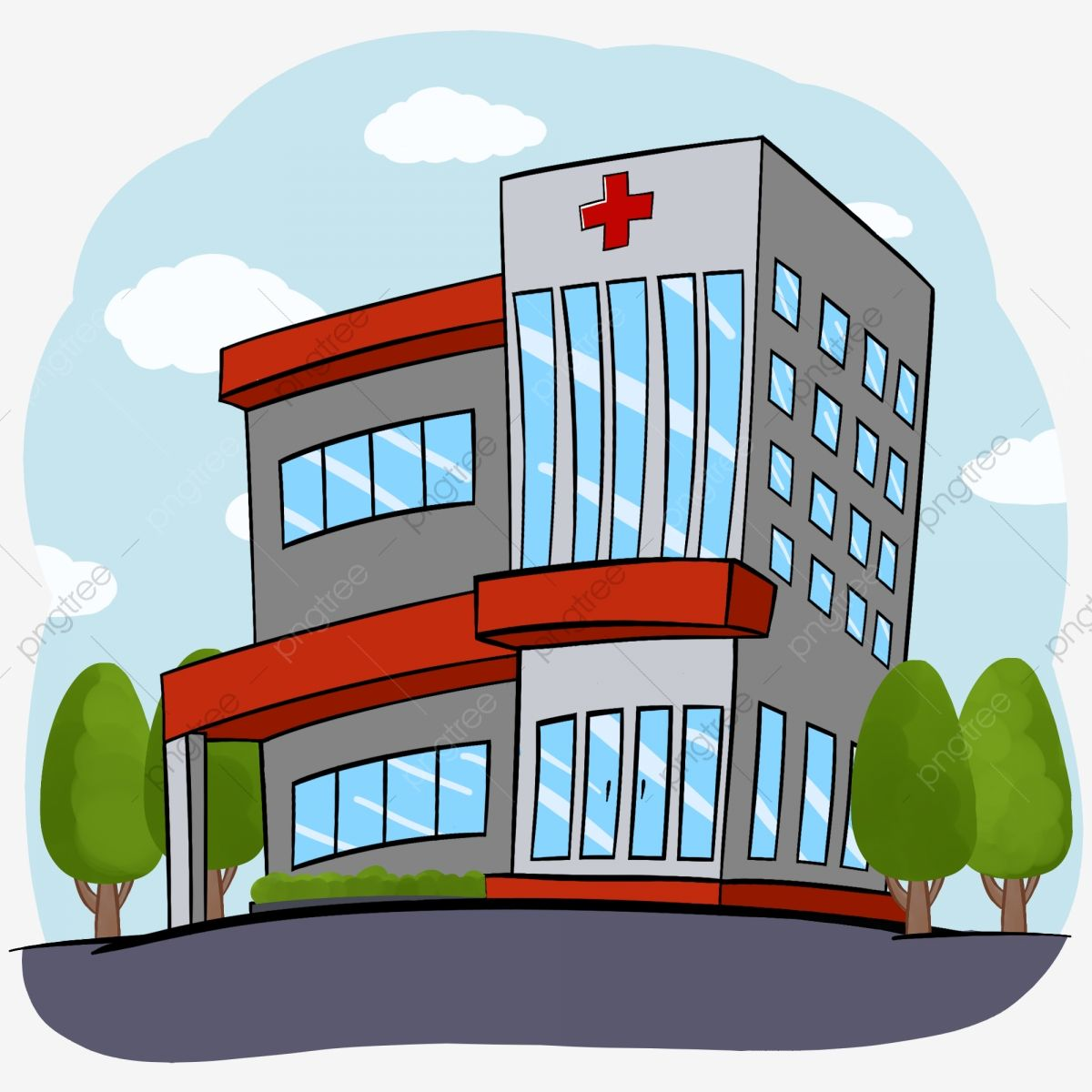 Medical Hospital Building Hand Drawn Can Be Commercial Cartoon Element Medical Hospital Hand Painted Hosp Hospital Cartoon How To Draw Hands Cartoon Clip Art