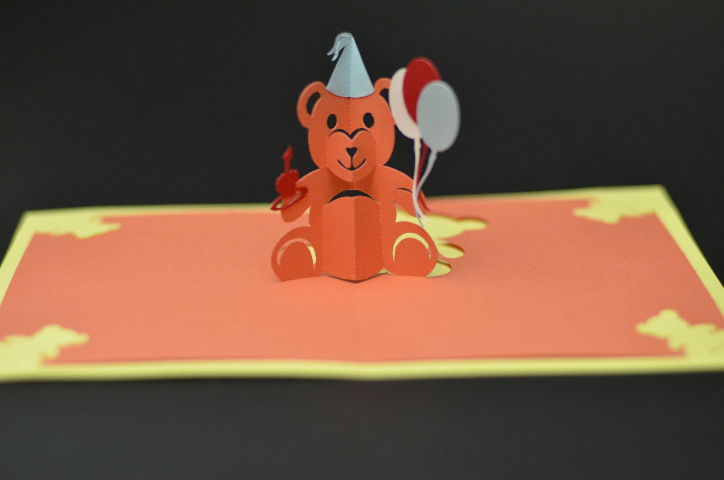 Teddy Bear Pop Up Card Tutorial And Template Creative Pop Up Cards Pop Up Card Templates Bear Card Pop Up Cards