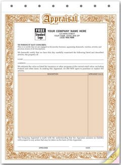 Jewelry Appraisal Form  Authorized Signature Line Included
