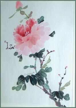 peonies asian images painting