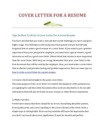 How To Write A Cover Letter For A Resume With Images Writing A
