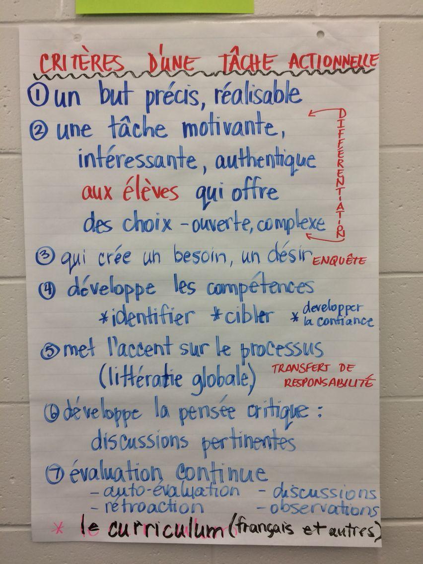 Crit¨res Pour T¢che Actionnelle Teaching Tools Pinterest