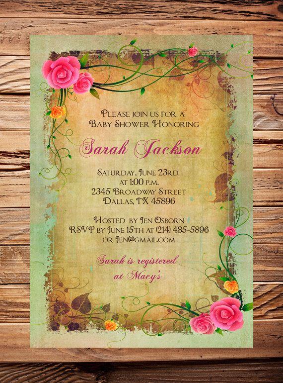 Vintage Roses Shower Invitation, Digital Baby Girl Shower Invite,  Printable, DIY, Roses