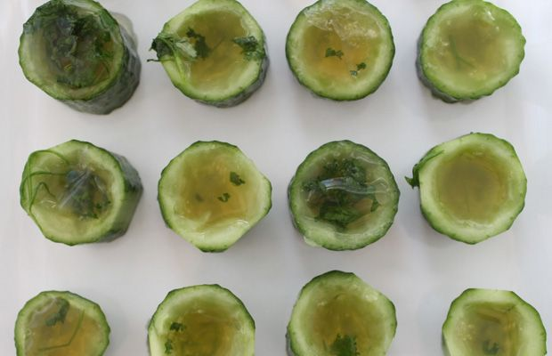 Cucumber Mint Julep Jello Shots Main ingredients: Bourboun, water, sugar, mint, knox gelatin, mini cucumbers