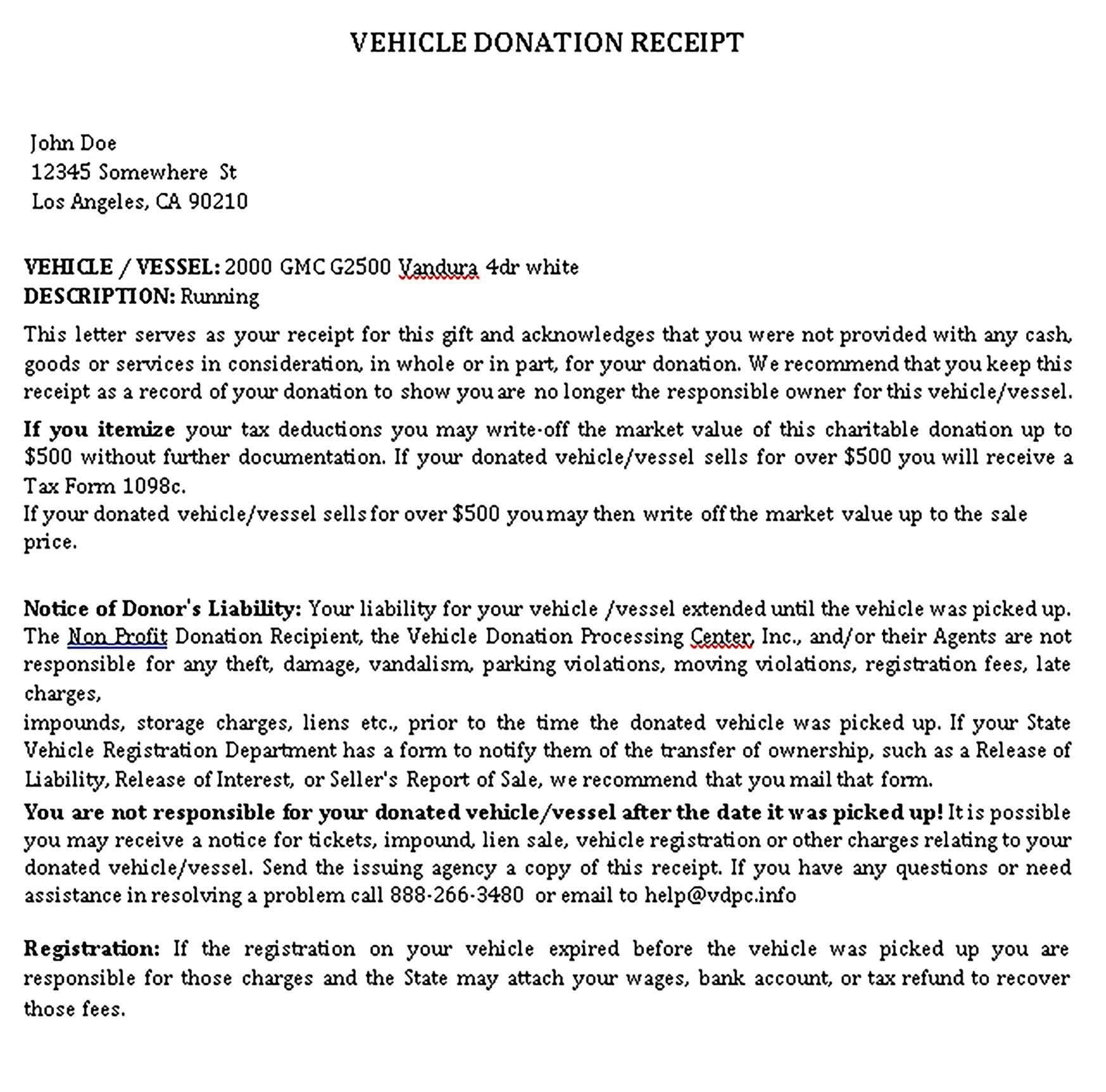 Sample Donation Receipt Di 2020