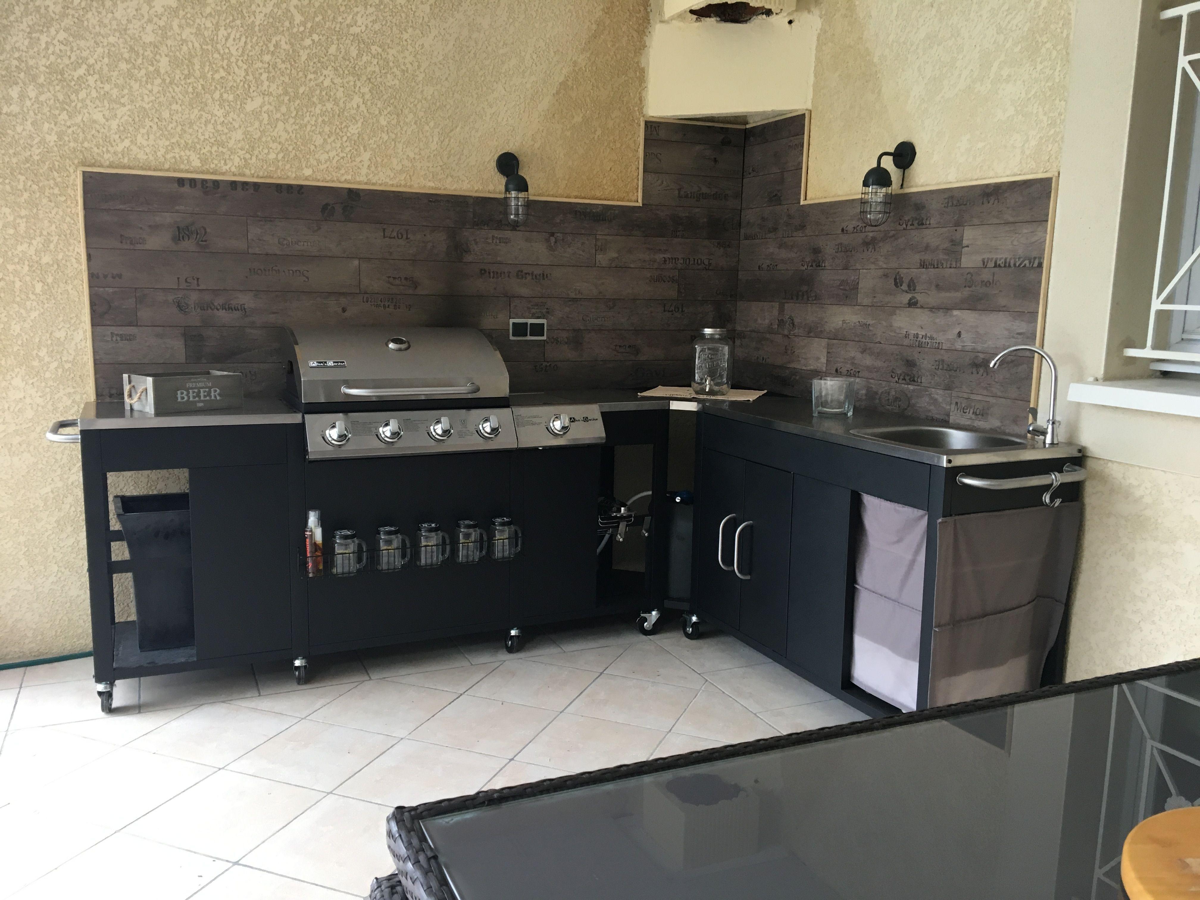 rochefort barbecue au gaz 5 br leurs avec vier planche ustensiles plan de travail et. Black Bedroom Furniture Sets. Home Design Ideas