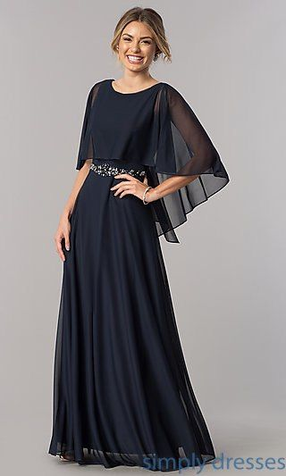 Mother Of The Bride Floor Length Dress With Cape