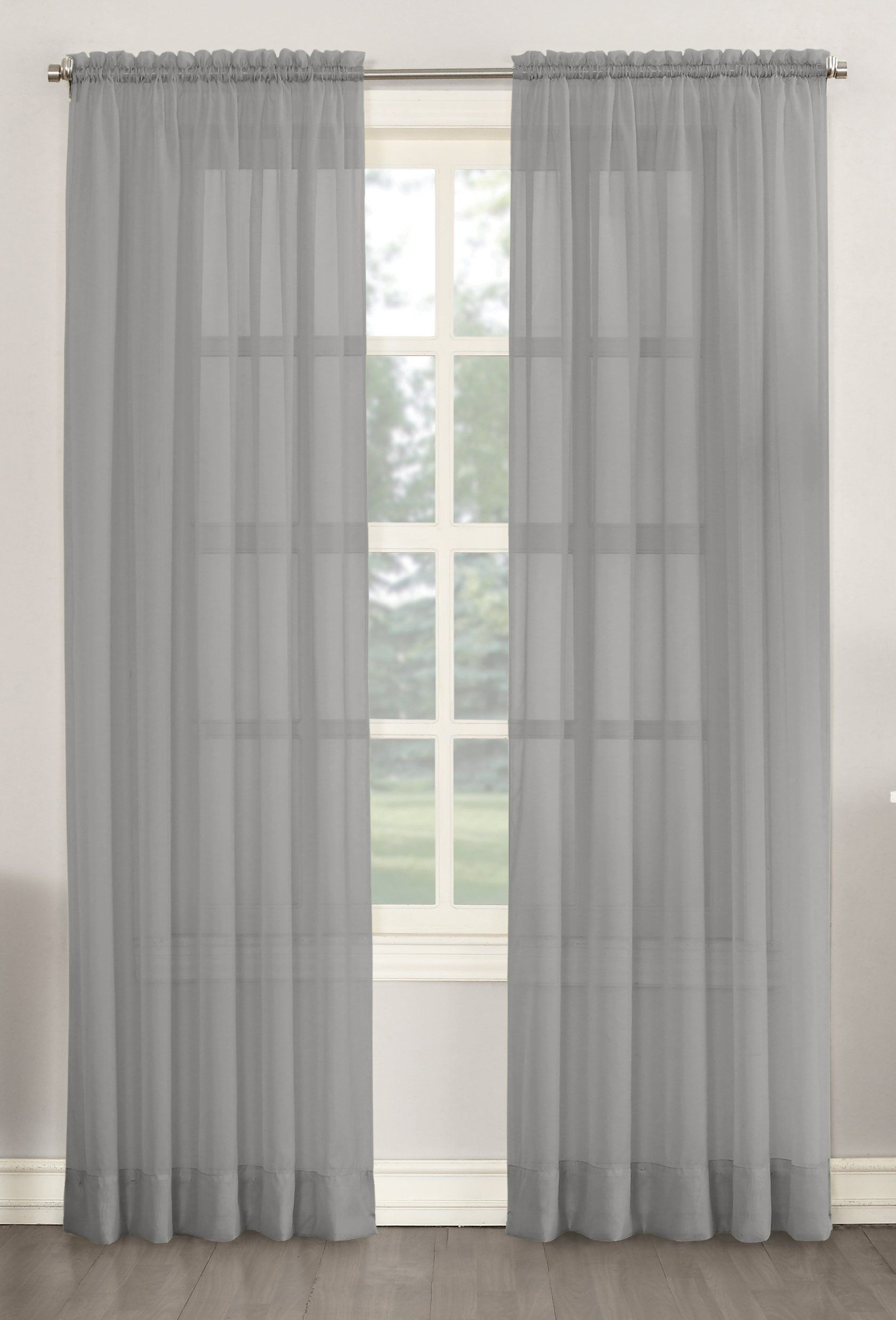 No 918 Emily Sheer Voile Curtain Panel 59 X 54 Charcoal Gray