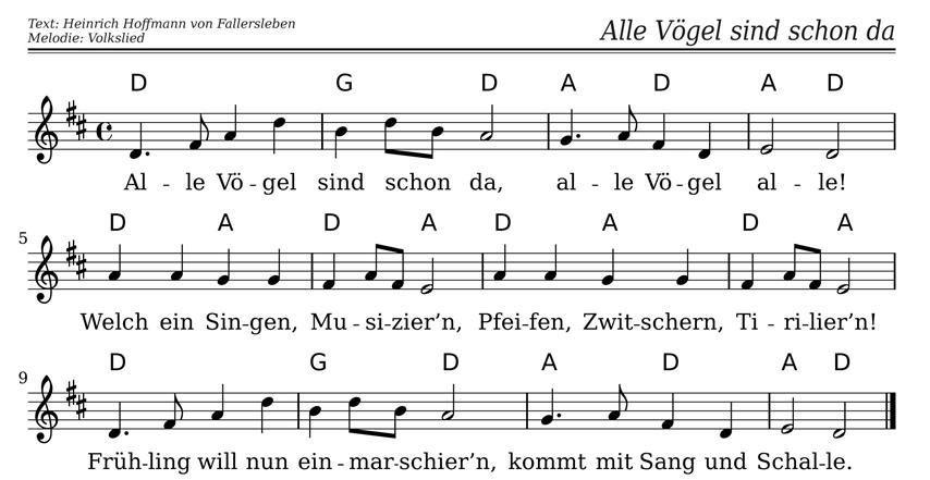 Alle Vogel Sind Schon Da Noten Text Tierlied Fruhlingslied Fur Kita Und Chor Kinder Lied Kinderlieder Lied